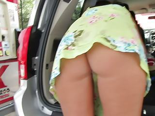 Trina Flashing Public Upskirt At Gas Station