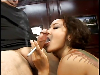 Sexy asian smoking BJ