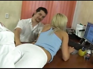 The doctor probes her ass with his dick