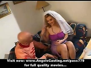 Long Hair Blonde Bride Toying Dick