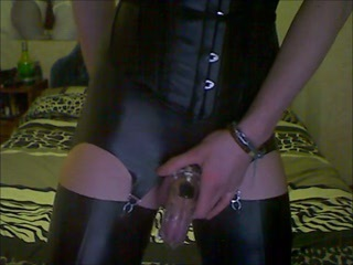 Anal Milking  Hot Crossdresser in Latex Stockings  amp; Chastity