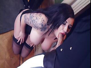 British Slut Yuffie In A Fmm Triune In Stockings