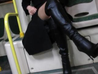 "Girl in stockings and black leather boots flashing in a bus"" class=""th-mov"