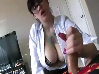 Amateur Big Tits Girlfriend Glasses Handjob Homemade Natural Pov