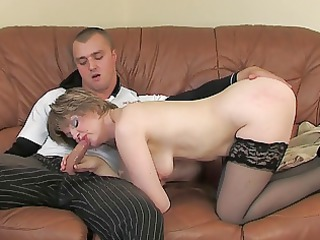Blowjob Mature Mom Old and Young Russian Stockings
