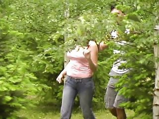 Girl likes to get fucked in the air the woods