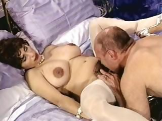 Busty brunette mature with hairy pussy trades head and bangs