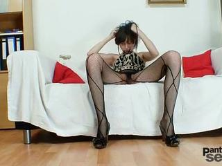 "Gorgeous Czech Model Alice In Fishnet Pantyhose Smoking"" class=""th-mov"