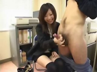 Asian  Cumshot Handjob Japanese Office Teen