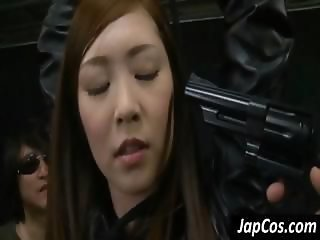 Hottie Asian slave master gets the tables blocked as her weapon gets taken