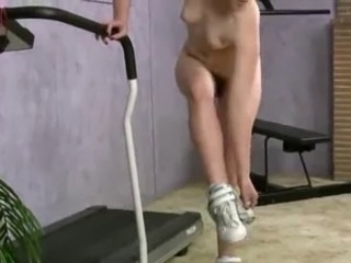 Hairy naked Barb at Training Gym