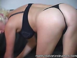 Blonde jerk off teacher rubs her entire curvaceous body to tease