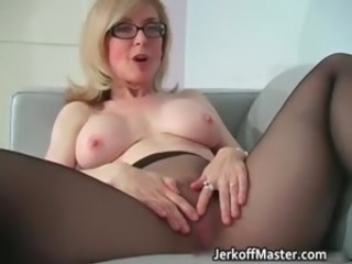 Glasses Mature Pantyhose Solo