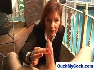 Cougar gives horny guy a harsh handjob