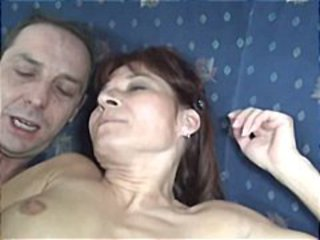 Mature redhead amateur foodstuffs his cock then takes it in her juicy pussy