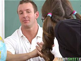 Brunette schoolgirl in pigtails loves to get pounded by the coach
