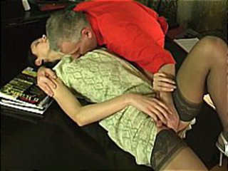 Older dude gets this younger brunette to suck and fuck him