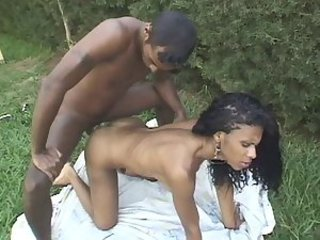 Black Brazilian Babe and her Boyfriend outdoor sex