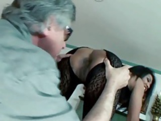 Asian in body stocking gets a sexy rimjob tubes