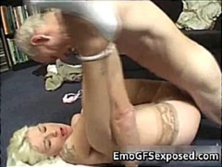 Old papy fucking young  tattooed wife part1