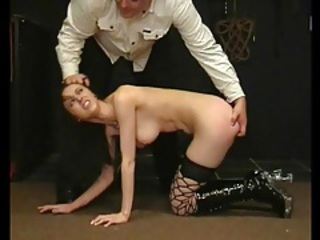 Quartering and binding sexy girl in his dungeon tubes