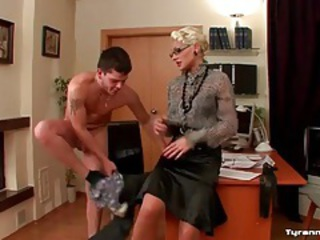 He strips under orders from blonde mistress tubes