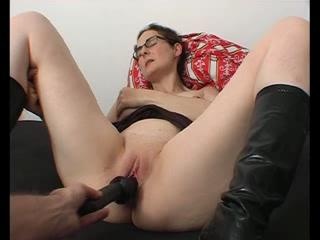 Dildo Glasses Masturbating Mature