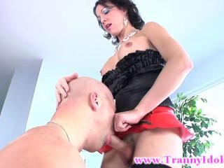 Brunette tranny ladyboy shemale sucked and sucking