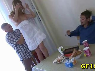 Girlfriend Kitchen Russian Teen Threesome