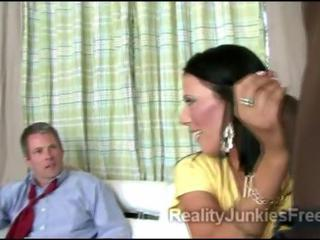 Brunette MILF sucks big black schlong in front of husband