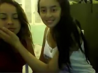 little lesbians kiss in webcam
