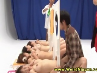 Gameshow Asian babes fucked in their tight pussys from guys