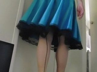 Sissy Ray in Blue Dress and Red Heels