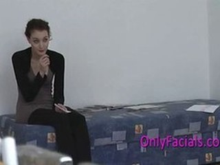 First facial via casting for extremely shy czech t...