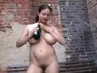 Crazy Milf Drinks Up The Champagne And Then Uses The Bottle