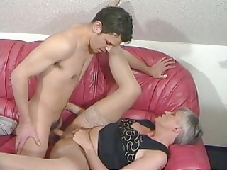 grey haired elderly inside pantyhose fucks the boy