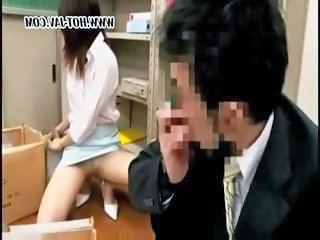 Young Japanese office tramp gets it on with her