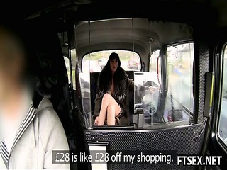 naughty woman pays the taxi with butt