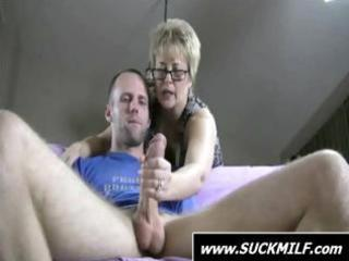 fucker gets caught by blonde milf who finishes