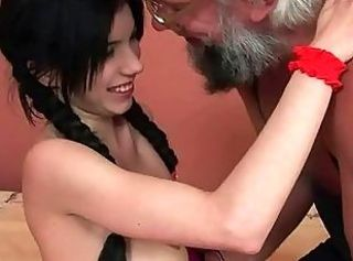 Cute Daddy Daughter Old and Young Pigtail Teen