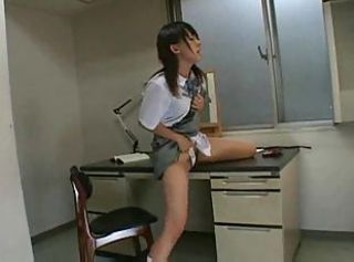 Japanese Girl Humps Her Desk
