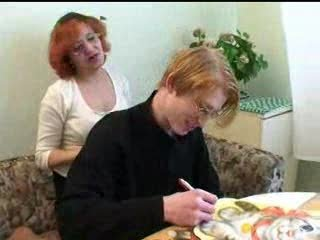 Amateur Glasses Mature Mom Old and Young Redhead Russian