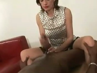 Mature interracial handjob cumshot