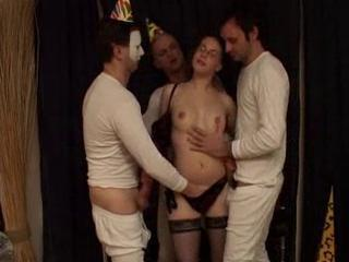 Three Horny pricks for the depraved whore
