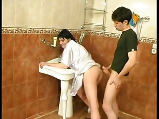 Bathroom Doggystyle Mom Russian