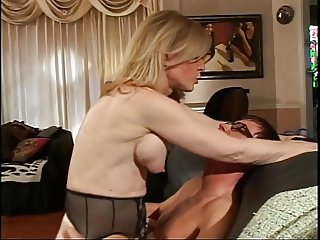 Blonde MILF strips for young dude who sucks her unchanging nipples