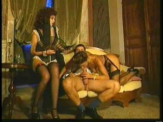 Blowjob European Italian Maid  Stockings Threesome Vintage