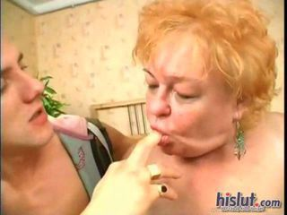 Grannie is at it again and this time she cant believe her catch Shes convinced two sexy guys to tag team her jamming their thick meaty poles into her nibbling mouth and warm juicy slit.