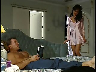 Hot threesome with Asia Carrera in action with a horny stiffener