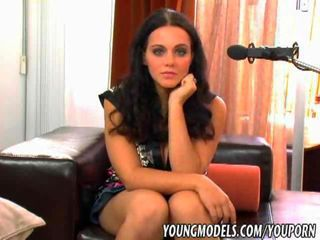 Very beautiful brunette girl fucked at a porn casting